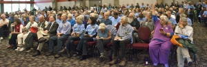 Blue-shirted supporters at October hearing