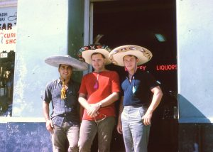 Rob, Wally and Larry cramming for exams Mexico 1963
